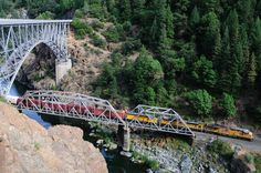 Train and the Feather River and Pulga Bridge in the Feather River Canyon