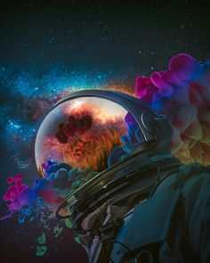 Roses are red and the universe is colorful, Marischa Becker Space Artwork, Wallpaper Space, Graphic Wallpaper, City Wallpaper, Digital Art Fantasy, Fantasy Art, Arte Dope, Astronaut Wallpaper, Psy Art