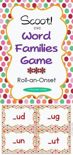 Included in this pack are 24 rime cards, blank cards, 'Roll-an-Onset' chart, student recording sheets, CVC Word List for the 24 word families, and instructions.