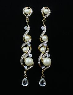 Gold Crystal and Pearl Earrings  http://befrostedbridaljewelry.com/