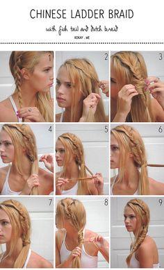 Magnificent Ladder Braid Tutorial Ladder Braid And Braid Tutorials On Pinterest Hairstyle Inspiration Daily Dogsangcom