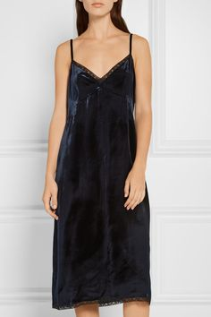 Navy velvet, black lace  Slips on 100% viscose Dry clean Made in Italy  As seen in The EDIT magazine
