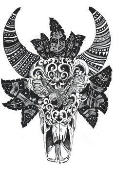 Bull Skull // Limited Edition Print by BirdBlackEmporium on Etsy, $15.00