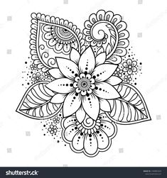 Mehndi Flower Pattern Henna Drawing Tattoo Stock Vector (Royalty Free) 1490881820 - Mehndi flower pattern for Henna drawing and tattoo. Decoration in ethnic oriental, Indian style. Easy Mandala Drawing, Paisley Drawing, Simple Mandala, Paisley Tattoo Design, Henna Doodle, Henna Art, Henna Mehndi, Mehndi Flower, Flower Mandala