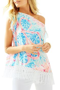 Caftans are resort essentials. It's the ultimate cover-up. Caftans can also be paired with white denim for an easy daytime look with flats or casual evenings in wedges. Our newest Jasmine Caftan has the on trend fringe and masterpiece print.   Jasmine Caftan Top by Lilly Pulitzer. Clothing - Tops - Blouses & Shirts Sandestin Golf and Beach Resort, Florida