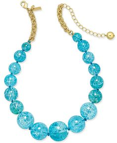 kate spade new york Gold-Tone Large Blue Bauble Collar Necklace | macys.com