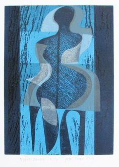 Peter Green Night Dancer woodcut and stencil print, edition of 12 Abstract Images, Abstract Art, Stencil Printing, Modern Art Prints, Collage, Woodblock Print, Figurative Art, Sculpture, Printmaking