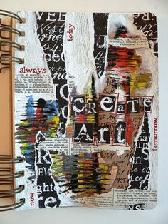 "Von pappe ii: art journaling - ""create art every day"" A Level Art Sketchbook, Sketchbook Layout, Sketchbook Cover, Sketchbook Ideas, Textiles Sketchbook, Art Journal Pages, Art Journals, Journal Ideas, Art Journal Covers"
