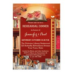 Butterfly Rehearsal Dinner Cards Library or Book Lovers Rehearsal Dinner Invitation