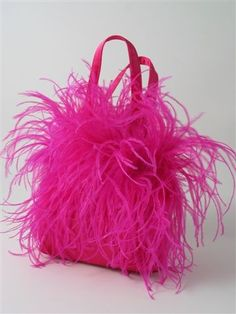Pink fuchsia ostrich feather bag handbag purse by daphnenen, $75.00