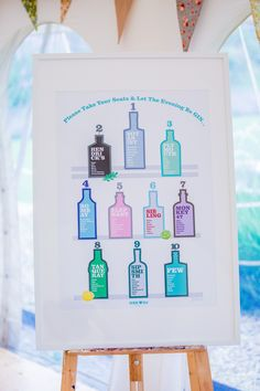 Gin themed wedding reception by Darren James Design. Table plan #ginwedding