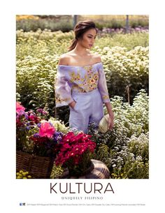 Off-shoulder hand-painted kimona from Kultura Debut Dresses, Grad Dresses, Modern Filipiniana Dress, Filipino Wedding, Business Outfits Women, Ethnic Dress, Unique Outfits, Dress Me Up, Gowns