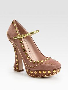 Studded Mary Jane heel gold accent and strap.