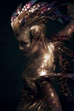 Model: Ksenia Ovsyanick of English National Ballet  Headdress: Rob Goodwin  Dress: David Bamber  Photographer: Diego Indraccolo