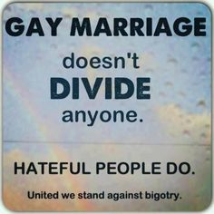 Gay marriage isn't the problem....bigots who use their mythology as a cover for their hatefulness is the problem.   #LGBT#marriageequality