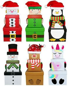 Stackable Nest Gift Present Boxes Christmas Eve Box 3 Pack Stacking Boxes Santa Recycled Christmas Gifts, Christmas Present Boxes, Christmas Presents For Kids, Christmas Crafts For Gifts, Homemade Christmas Gifts, Christmas Gift Wrapping, Christmas Activities, Kids Christmas, Christmas Boxes