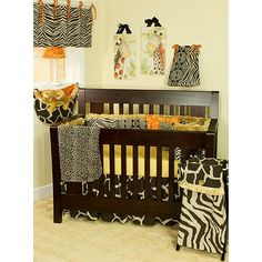 Take your little monkey on an adventure without leaving the nursery with this four-piece safari crib bedding set. This fun bedding set for baby features 100 percent cotton construction and includes everything that is needed for a stylish nursery.