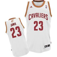 LeBron James Swingman In White Adidas NBA Cleveland Cavaliers #23 Men's Home Jersey
