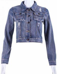Blue Long Sleeve Ripped Fringe Denim Crop Jacket
