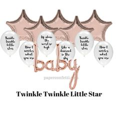 Twinkle Twinkle Balloons  Rose Gold Balloon  Baby Shower