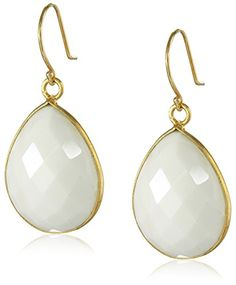 Gold-Plated Sterling Silver Faceted White Agate Teardrop Earrings.More info for black earrings;earrings for women;cool earrings;clip on earrings;turquoise earrings could be found at the image url.(This is an Amazon affiliate link and I receive a commission for the sales)