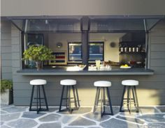 The indoor kitchen used outdoors