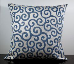 Royal blue chenille scrolls decorative throw pillow by purseona, $20 Couch Pillows, Cushions, Home Decor Fabric, Throw Pillow Covers, Slipcovers, Pillow Inserts, Decorative Throw Pillows, Printing On Fabric, Royal Blue