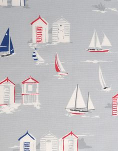 z. SAMPLE Oilcloth Fabric Beach Huts Grey Oilcloth, Fabric Samples, Different Fabrics, Beach Huts, Interior And Exterior, Kids Rugs, Grey, Interiors, Woven Cotton