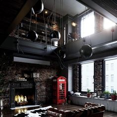 Industrial Living Room Design Idea with Blackened Steel Decor and Concrete Wooden and metal decor, loft design, industrial interior style Vintage Industrial Decor, Industrial Living, Industrial Loft, Industrial Interior Design, Contemporary Interior, Rustic Home Interiors, Industrial Interiors, House Interiors, Loft Interior
