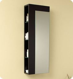 """Fresca FST1024 Espresso 39"""" Wall Mounted Bathroom Linen Cabinet with Four Open S Espresso Bathroom Cabinets Wall Cabinets Linen Tower"""