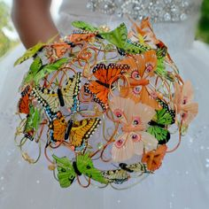 Accessoires - Hochzeit Brautsträuße Butterfly und anstecker - ein Designerstück von Wandadesign bei DaWanda
