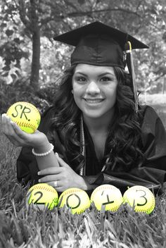 The softballs made the perfect color touch, my friend lover her graduation pic I took for her