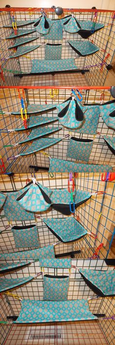 Bedding 149078: Blue Diamond Shapes Sugar Glider 11 Pc Cage Set BUY IT NOW ONLY: $34.95