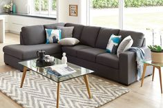 The Joseph 4 Seater Fabric Chaise Sofa is a modern sofa upholstered in a soft, wool look fabric which gives it a lovely smooth feel. Buy your new sofa at Harvey Norman. Chaise Sofa, Upholstered Sofa, Couch, Lounge Suites, Welcome To My House, Leather Lounge, Dining Furniture, Furniture Ideas, Sofa