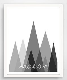 Love this Gray Abstract Mountains Personalized Wall Art on #zulily! #zulilyfinds