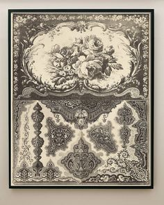 Antiguo impresión decorativa rosas y encaje arte por CapricornPress