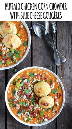 Buffalo Chicken Corn Chowder with Blue Cheese Gougères - Half Baked Harvest Chowder Recipes, Soup Recipes, Chicken Recipes, Cooking Recipes, Yummy Recipes, Healthy Recipes, Yummy Yummy, Delicious Food, Delish