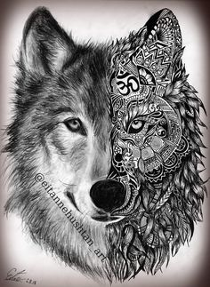 Stunning Wolf Tattoo design - I want Tattoo Tatoo Henna, Tatoo Art, Mandala Tattoo, Body Art Tattoos, Tattoo Drawings, Art Drawings, Trendy Tattoos, Tattoos For Guys, Tattoos For Women