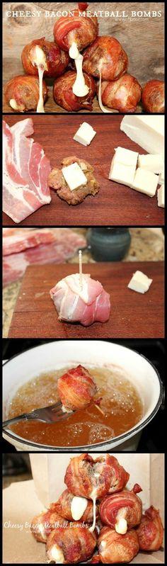 Cheesy Bacon Meatball Bombs.