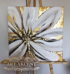 Gold Leaf Art, Acrylic Art, Resin Art, Painting Inspiration, Flower Art, Canvas Wall Art, Painting Canvas, Modern Art, Art Projects