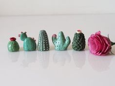 Cute cacti!  -  Miniature cactus set of 5 - Collectible thimbles - Cactus garden decor - Cactus favors -Clay mini cactus -Small cactus  - Fairy garden decor