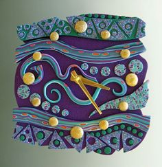 Twilight Time Polymer Clay Art Clock. Free Form in Purple, Blue and Green Crazy Stripe. $65.00, via Etsy.