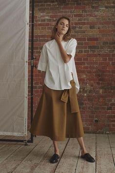 Studio Nicholson London Spring/Summer 2017 Ready-To-Wear Collection | British Vogue Minimalist Fashion, Midi Skirt, Fashion Watches, Luxury, Skirts, Womens Fashion, Women's Fashion, Ladies Fashion, Skirt