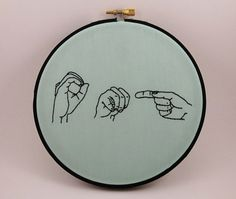 OMG  Sign Language Embroidery Hoop Art  6 inches by ThePhantomMoon, $38.00
