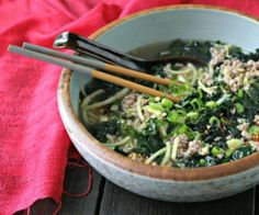 Spicy Pork Soup with Fresh Kale and Japanese Sweet Potato Noodles. A meal in a bowl!