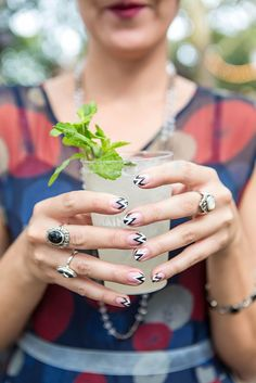 Crazy zig-zag French manicure at the Jazz Age Lawn Party 2014