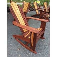 "Patchwoods ""Colorado"" adirondack rocking chair, traditional in design with Batu mahogany and Meranti  mahogany accent slats * NO SHIPPING *"
