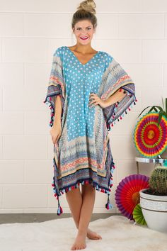 blue tunic poncho beach cover up tassel detail by Red Dress Boutique