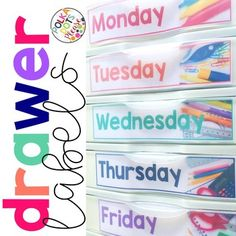 FREE Editable Storage Drawer Labels with Photographs