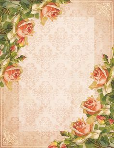 """A Painted Rose"" ~ free stationery with peach roses, light border"